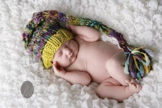 Newborn Elf Hat - Baby Photography Prop  - Knitwitwoolies -Twin Props - Elf