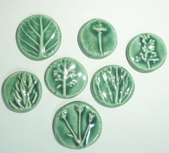 light leaf green nature coins with slightly rasied designs