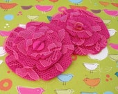Shocking Pink - Lace and Felt Flowers