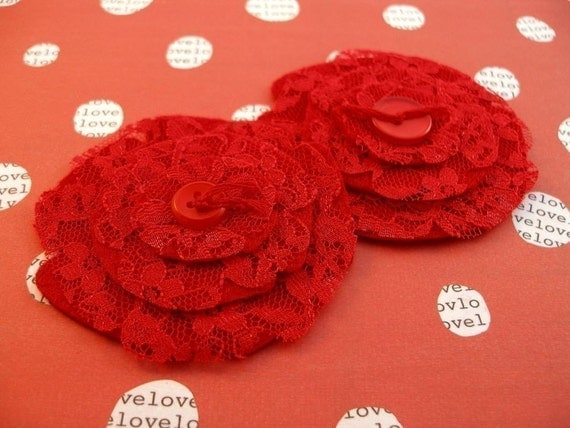 Tango Red - Lace and Felt Flowers