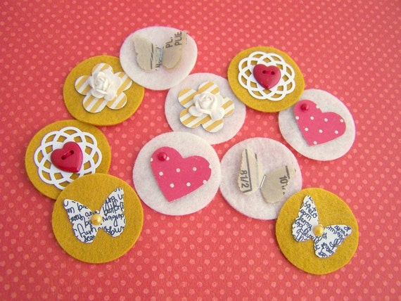 For Like Ever Sweet Spots - Felt and Paper Embellishments