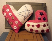 Small Pair Patriotic Americana Heart Button Pillows