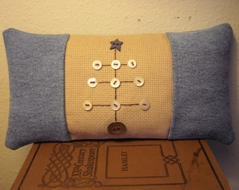 Primitive Denim Folk Art Christmas Tree Pillow