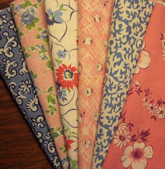 6 Different Vintage Feedsack Fabric Pieces