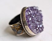 Druzy Amethyst Leaf Vine Ring Sterling Silver God of Wine