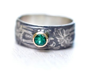 Chatham Emerald Ring Recycled Sterling and 14kt Gold Art Nouveau Style