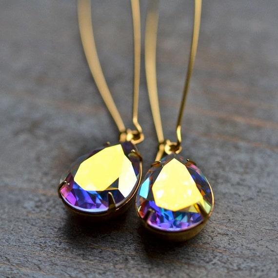 Christmas in July SALE - Aurora Borealis Swarovski Crystal Bridal Earrings -- Extra Long