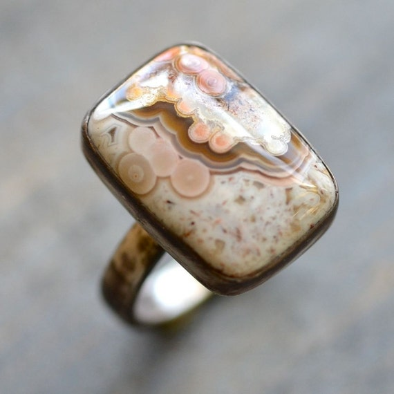Crazy Lace Agate Ring in Sterling Silver Sz. 6.25