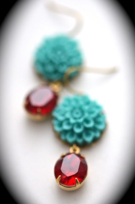 CLEARANCE SALE Kate Earrings with Dahlia Flower in Turquoise
