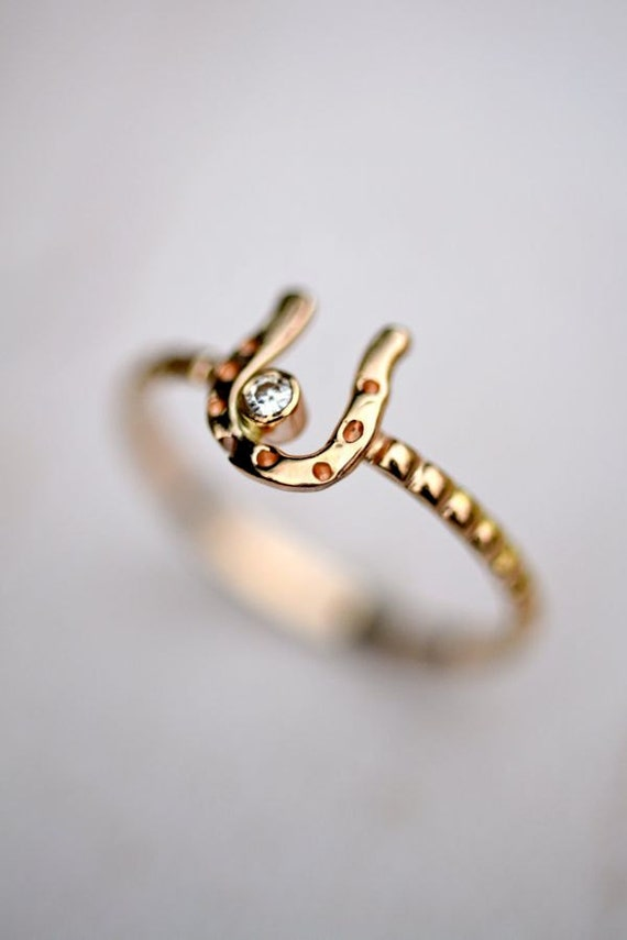 14kt Gold Horseshoe Ring Moissanite