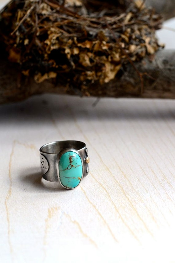 Ring - Turquoise, 14kt Gold Sterling Silver Eco Friendly, Songbird FLY