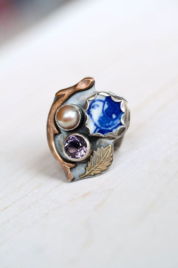 Magpie Ring No 23, Sterling, Amethyst, Pearl, Antique Blue Willow Broken China