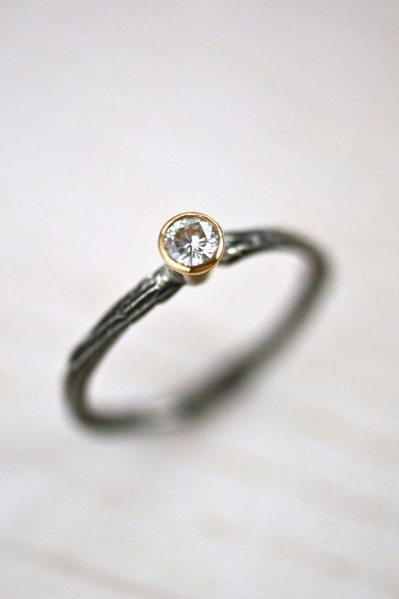 Twig Moissanite Ring Silver 14kt Gold Mixed Metal Branch Nature Woodland Engagement