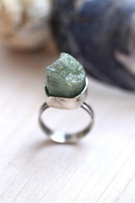 Rough Cut Aquamarine Ring in Sterling Silver Rustic Sea Princess
