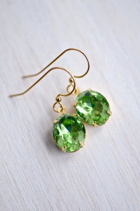 Swarovski Spring Green Rhinestone Earrings - CLEARANCE