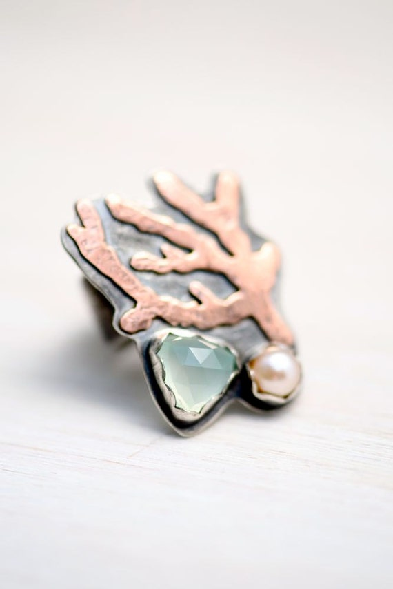 Ring - Chalcedony - Pearl - Mixed Metal - Sea Fan Coral - Beach Inspired