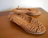 Tan Woven Leather Summer Sandals 6, 5.5