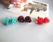 Cherry, Mint and Cocoa Summer Lace Roses Blossoms in Garden Earring Studs
