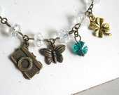 Nature Inspired My little Clover Greeny Garden Camera, Butterfly, Clover Charms and swarovski crystal, glass pearls Necklace