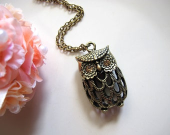 Woodlands Vintage Inspired Sparkle Eyes Cute Kawaii Filigree Lucky 3D Owl Long Necklace