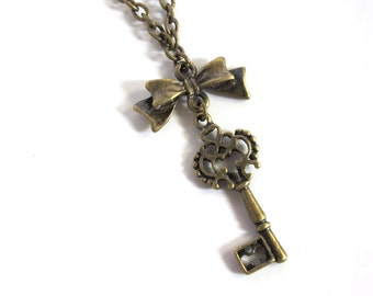 Antique Key Victorian Vintage Style Skeleton Key with ribbon bow Necklace
