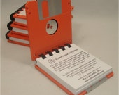 Floppy Disk Note Pad - ORANGE - Recycled 3.5 Diskettes Great Geek Gift