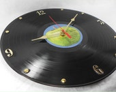 The BEATLES Recycled Record Vinyl Wall Clock - Apple Blue Album 1967 to 1970