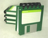 Floppy Disk Note Pad - GREEN - Recycled 3.5 Diskettes Great Geek Gift