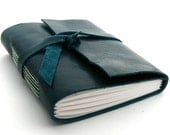 Handmade Leather Journal, The Traveler in Deep Teal and Mint Green