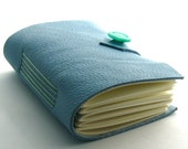 Handmade Small Button Up Leather Journal in Sky Blue and Mint