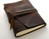 Handmade Leather Journal, The Rugged Traveler in Dark Brown