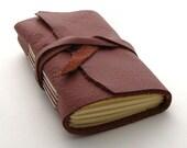 Handmade Leather Journal, The Small Traveler in Raspberry Mocha