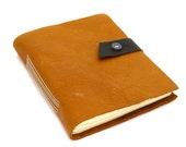 Handmade Leather Journal and Sketchbook in Butterscotch, Espresso and Denim