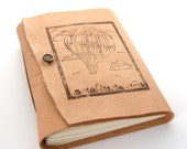 Leather Travel Journal and Sketchbook, Hand Printed with Vintage Inspired Hot Air Balloon