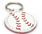 Leather Baseball Key Ring, A Hand Stitched White Leather Keychain