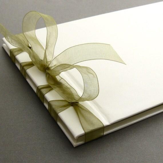 Simple Elegant Book Covers : Handmade simple elegant wedding guest book in moss and cream