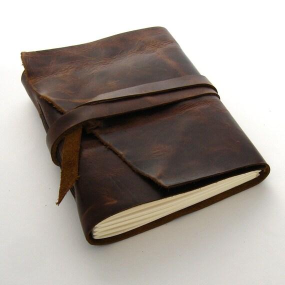 Handmade Leather Journal, The Rugged Traveler in Dark Brown