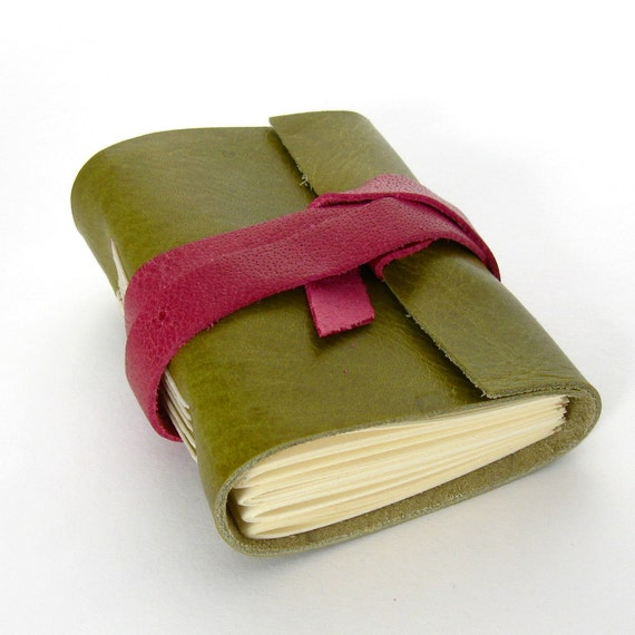Tiny Chunky Handmade Leather Journal in Raspberry and Lime