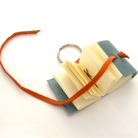 Miniature Leather Journal, A Handmade Leather Key Ring in Teal, Orange, and Cream