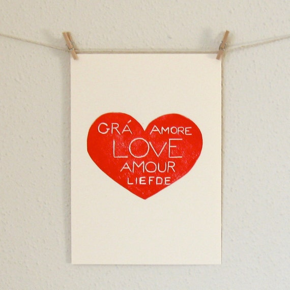 Heart Print, The Languages of Love, A Hand Pulled Linocut ON SALE