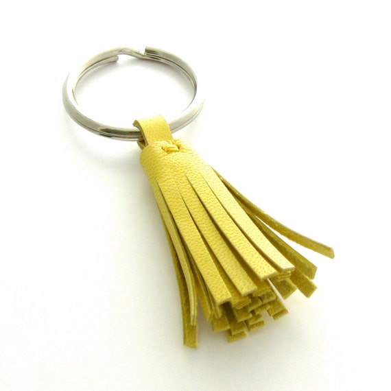 Yellow Leather Keychain, A Handmade Leather Key Ring in Buttercup