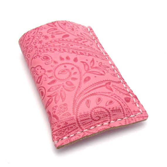 Pink Leather iPhone Case, A Handmade Leather Phone Sleeve