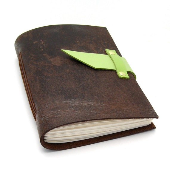 Handmade Brown Leather Journal and Sketchbook in Chocolate and Kiwi READY TO SHIP