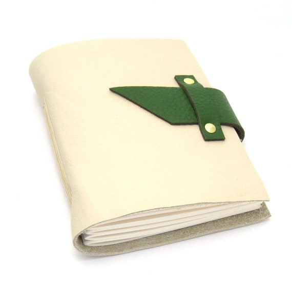 Green and Cream Leather Journal and Sketchbook, A Handmade Leather Journal in Winter White