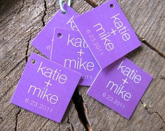 Modern colorful Gift Tags - Square Wedding Favor Tags - Purple Wedding Gift Tags - Thank you tags - Cake Pop Tags Hang tags - Set of 50