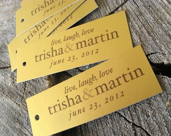 Gold Wedding Rectangle Favor Tags - Vintage Gold Thank you tags - Metallic Wedding Gift Tags - Set of 50