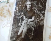 Vintage Photo of Girl with Cat