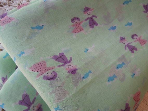 6 Yards of Vintage Mint Green Organza with Children and Birds