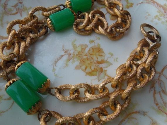 Vintage Green Lucite Accent Necklace