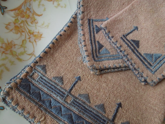Vintage Hand Embroidered Greek Table Topper Linens from Greece